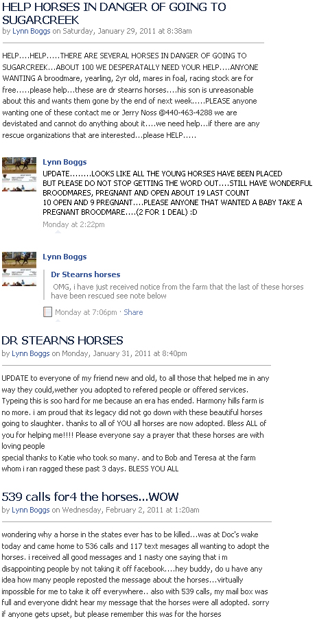 Original Facebook Status Thread by Lynn Boggs regarding the 52 horses in Barnesville, OH
