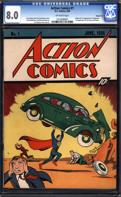 Action Comics No. 1: The first appearance of Superman in a comic book (June, 1938)