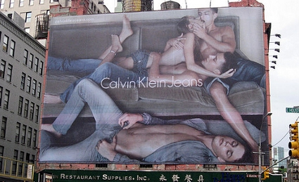 Calvin Klein Billboard in SoHo, NYC features threesome (or maybe a forgy!)