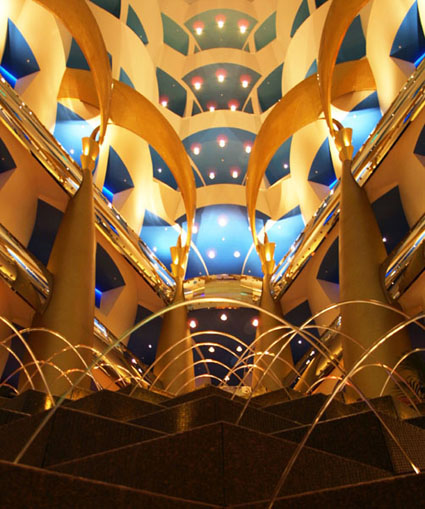 Inside the Burj Al Arab Hotel in Dubai, UAE