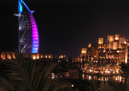 Night Life at Dubai's Burj Al Arab Hotel