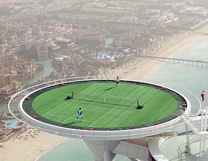 Tennis at the Burj Al Arab Hotel