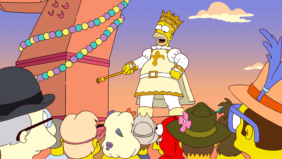 Homer Simpson as the Mardi Gras King