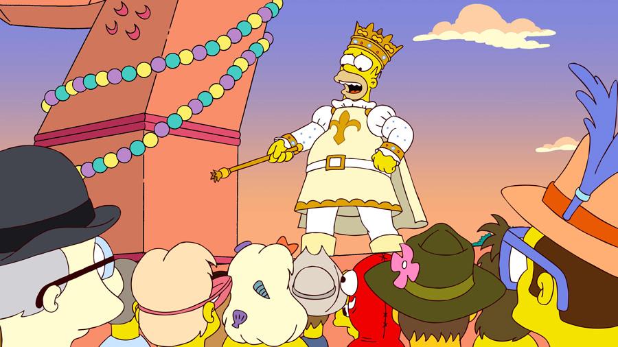 Homer Simpson as the Mardi Gras King