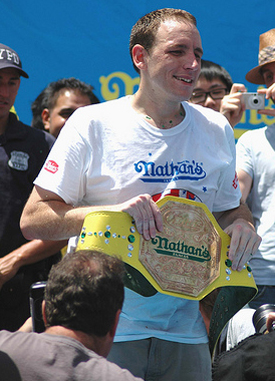 Joey Chestnut Celebrates 3 Years in a Row as Champion at Coney Island Hot Dog Eating Contest (July 4, 2009)
