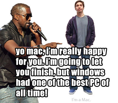 Kanye West interrupts the Apple Mac guy