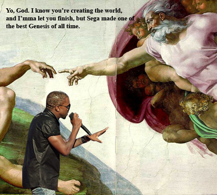 Kanye West interrupts God during Genesis