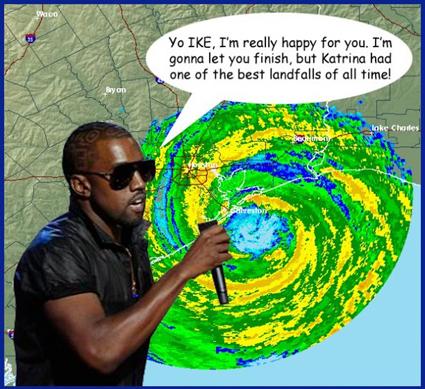 Kanye West interrupts Hurricane Ike