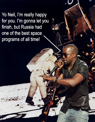 Kanye West interrupts Neil Armstrong on the Moon