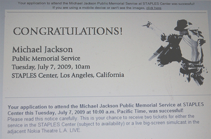 Michael Jackson Funeral Online Registration Successful!