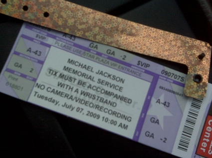 Ticket & Wristband from Michael Jackson Memorial Service at the Staples Center in Los Angeles, CA