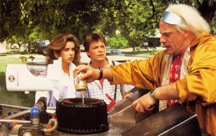 Doc Brown Pours Beer into Mr. Fusion in Back to the Future